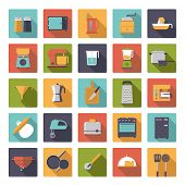 stock photo of kitchen appliance  - Flat Design Cooking Appliances Vector Icons Collection - JPG