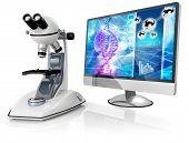 image of genetic engineering  - microscope and computer isolated on white background - JPG