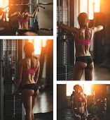 stock photo of abdominal muscle  - Brutal athletic woman pumping up muscles with dumbbells - JPG