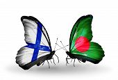 stock photo of bangladesh  - Two butterflies with flags on wings as symbol of relations Finland and Bangladesh - JPG