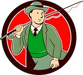 stock photo of fly rod  - Illustration of a vintage fly fisherman tourist wearing bowler hat and vest with fly rod and reel set inside circle done in cartoon style  - JPG