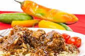 picture of barbie  - Closeup of Barbecue Meatballs on rice covered with spicy BBQ Sauce - JPG
