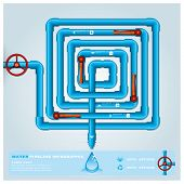 pic of pipeline  - Water Pipeline Maze Business Infographic Design Template - JPG