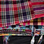 stock photo of loincloth  - Striped loincloth fabric colorful fashion design for local - JPG