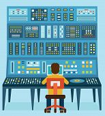 image of analogy  - Vector illustration of work place sound engineer - JPG