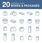 picture of packages  - Packaging icons Icons boxes simple linear style - JPG