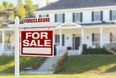 image of yard sale  - Foreclosure Home For Sale Real Estate Sign in Front of Beautiful Majestic House - JPG