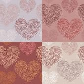 pic of marsala  - Set of 4 seamless patterns with ornate hearts - JPG