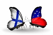 image of samoa  - Two butterflies with flags on wings as symbol of relations Finland and Samoa - JPG