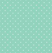 stock photo of dots  - Seamless vector pattern with small white polka dots on mint green background for tile decoration wallpaper - JPG