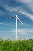 pic of wind wheel  - Beautiful green meadow with wind turbines generating electricity - JPG