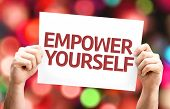 image of empower  - Empower Yourself card with colorful background with defocused lights - JPG