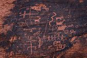 stock photo of valley fire  - ancient petroglyphs fount on the walls of the the Mouse - JPG