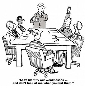 pic of swot analysis  - The business team is conducting a SWOT analysis and as part of identifying their weaknesses do not look at the boss - JPG