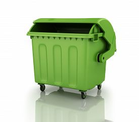 picture of recycle bin  - A large green recycling bin - JPG