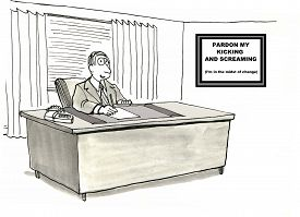 stock photo of screaming  - Cartoon of a businessman at his desk with a sign saying  - JPG