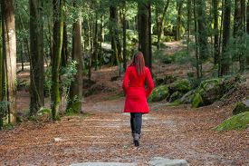 picture of girl walking away  - Young woman walking away alone on a forest path wearing a red overcoat - JPG