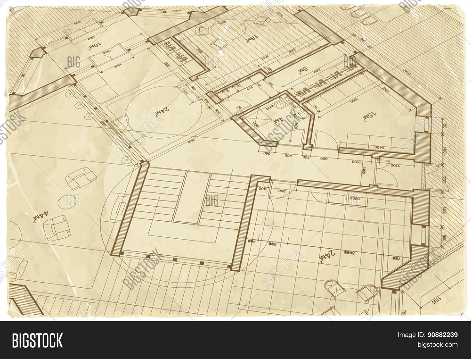 Architecture Drawing Paper architectural drawing house plan on the texture of the old sheet