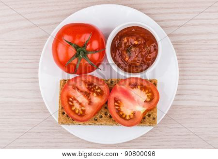 Crisp Bread, Bowl With Ketchup And Tomato In Plate