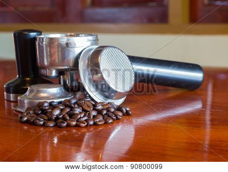 Coffee Beans and Coffee Brewing Machine Parts