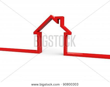 3d house outline banner