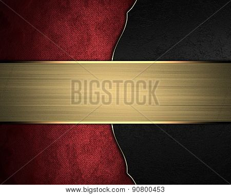 Red Texture On Black Velvet With Gold Nameplate. Template Design For Text. Template For Site
