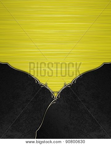 Black Velvet Background With Yellow Nameplate. Template Design For Text. Template For Site