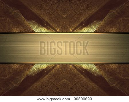 Abstract Metal Background With Gold Ribbon. Design Template. Design For Site