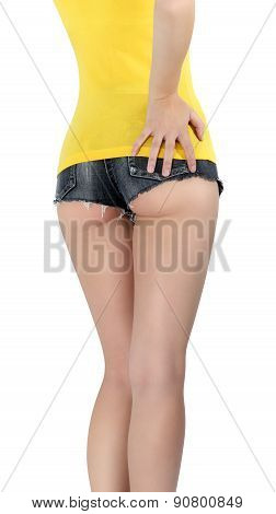 Woman Wearing A Short Denim Shorts