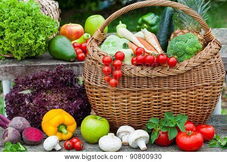 Assorted vegetables in wicker basket