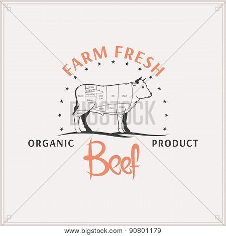 Butcher Shop Label Template, Beef Cuts Diagram