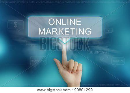 Hand Clicking On Online Marketing Button