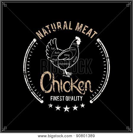 Retro Styled Butcher Shop Label Template, Chicken Cuts Diagram