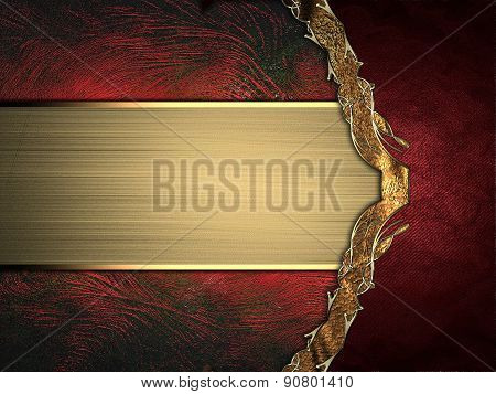Abstract Red Background With Gold Ribbon And Gold Border. Design Template. Design Site