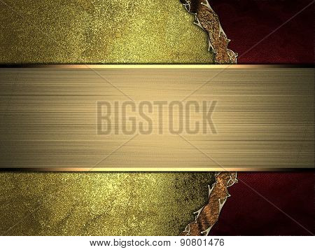 Grunge Gold Background With Red Side And Gold Nameplate. Design Template. Design Site