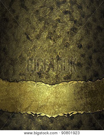 Dark Texture With Gold Scuffed With Gold Nameplate. Design Template. Design Site