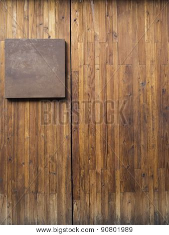Metal Plate On Wood Plank