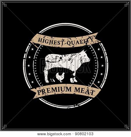 Retro Styled Butcher Shop Label Template with Farm Animals Silhouettes