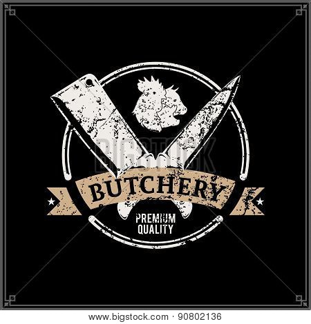 Retro Styled Butchery Logo Label Template with Farm Animals Icons and Knives