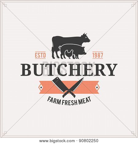 Butcher Shop Label Template with Farm Animals Silhouettes
