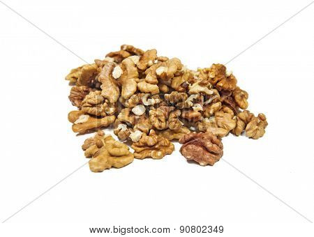 Shelled walnuts on a white background