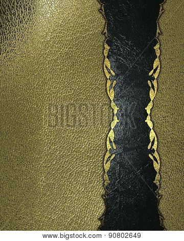 Abstract Grunge Gold Texture With Blue Ribbon With Gold Patterned.