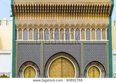 The Golden Gate Of The Palace In Fez, Morocco