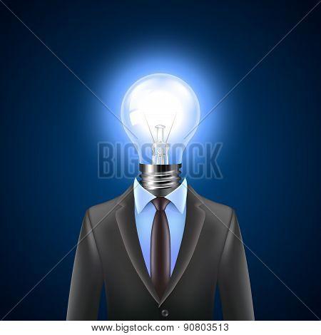 Lamp-head Businessman, Idea Concept Vector