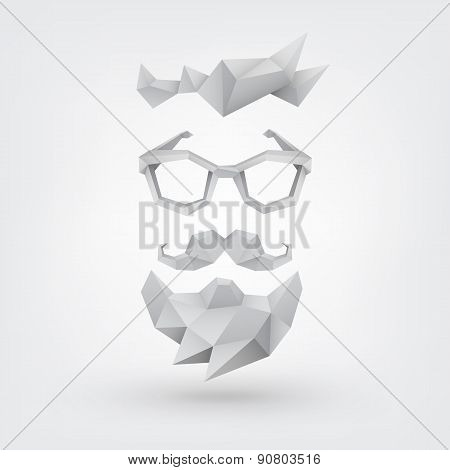 Hipster concept. Low poly style.