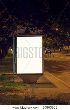 Blank Bus Station Billboard At Night