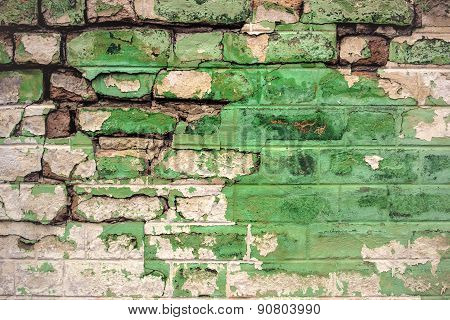 Old Green Brick Wall Toned
