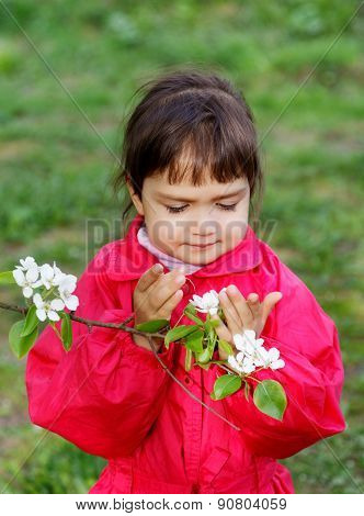 Little Girl With Flowers Pears In Spring