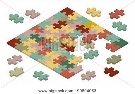 Isometric jigsaw puzzle