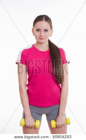 Sportswoman With Two Dumbbells